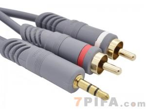 1.5米 晶华 3.5接口/2RCA 全铜高保真灰色系列音频线