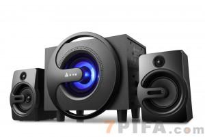 [黑色]Q8 金河田音响低音炮 多媒体电脑音箱 台式木质2.1