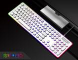 [朋克金属白]K19 蝰蛇复古圆键朋克机械手感金属竞技游戏键盘