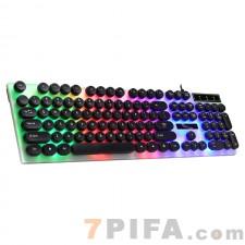 [黑USB圆键冒]G21追光豹圆键冒悬浮七彩发光USB键盘