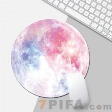 粉色月球圆形鼠标垫