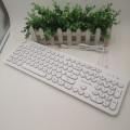 [白色]K3000 朋克复古冰狼USB 有线键盘
