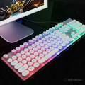 [珍珠白]零点之约202水晶复古朋克七彩混光有线单键盘