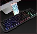 [黑色]X310七彩背光游戏键盘发光机械手感太空合金面板USB有线键盘