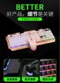 [土豪金]雷迪凯828金属背光电脑键盘鼠标 USB有线CF LOL游戏键鼠套件