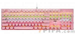 [粉色]爱国者930复古朋克圆键帽游戏机械键盘